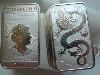 Australia Dragon 1oz silver bullion coin bar