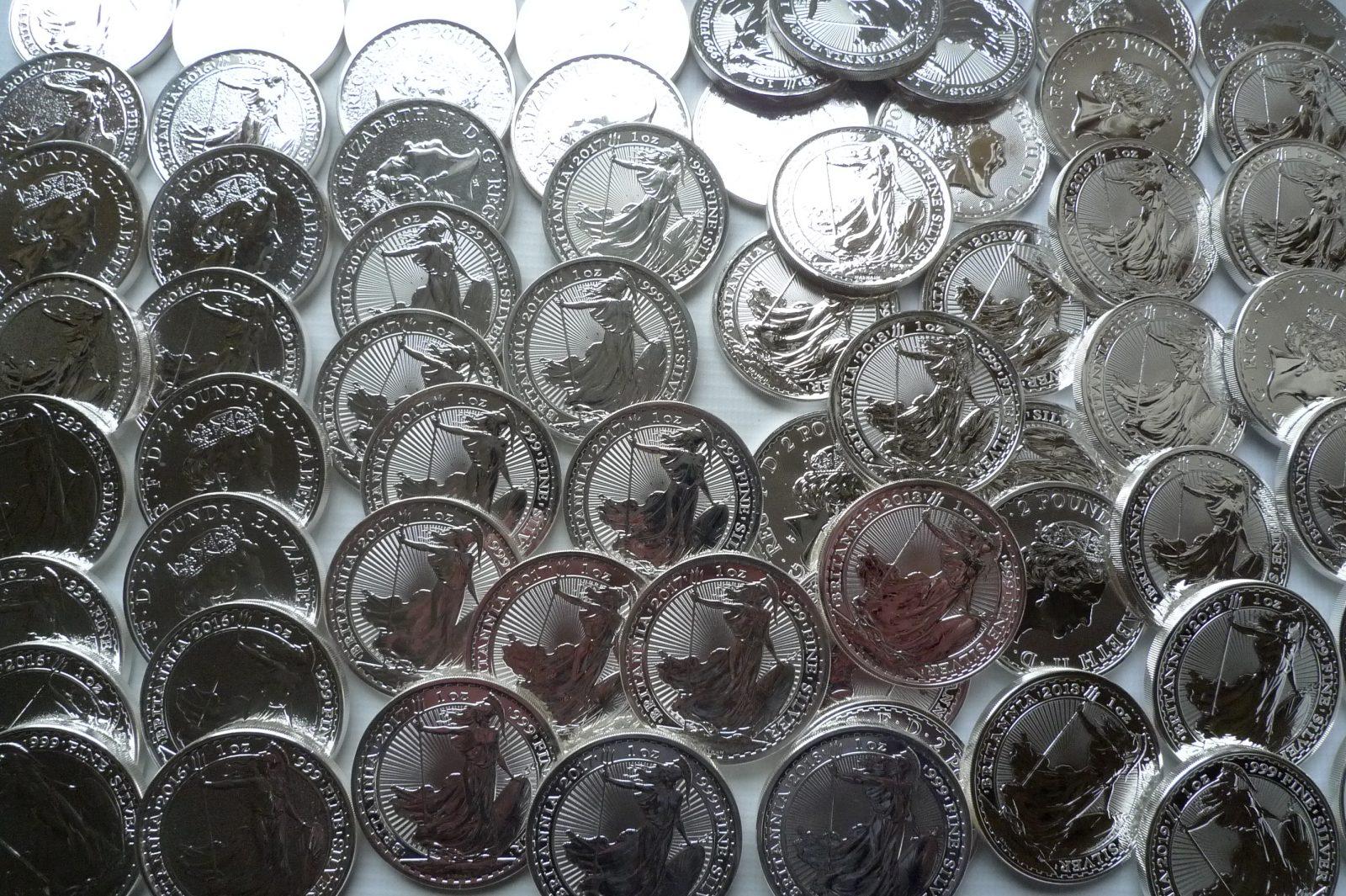 GB britannia silver bullion coins
