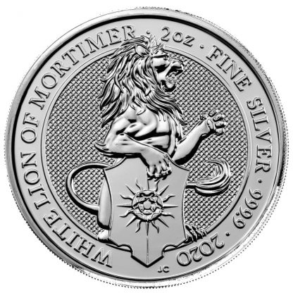 2oz silver queens beast 2020 white lion mortimer-5 pounds coin